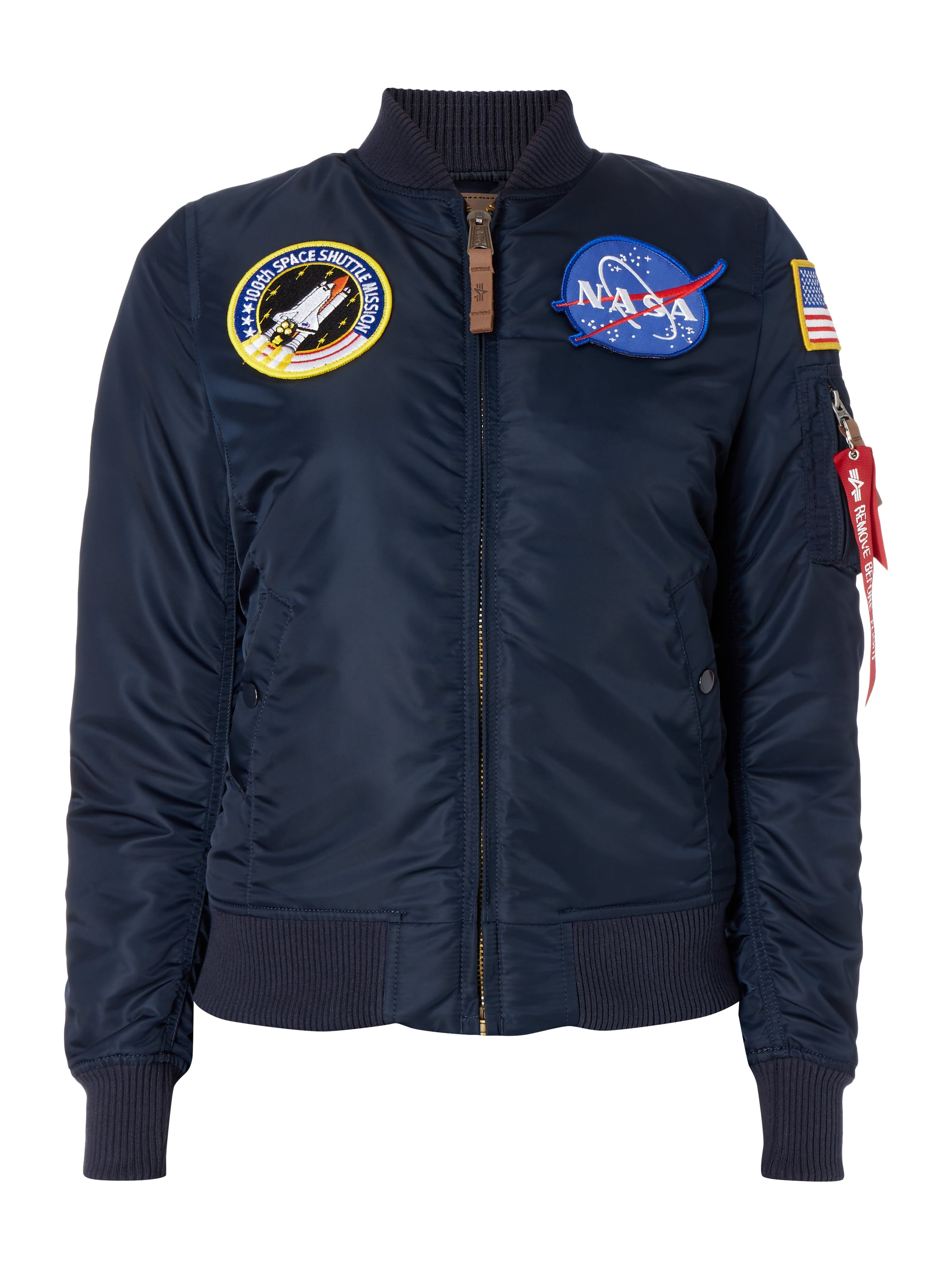 alpha industries bomber mit nasa aufn hern in blau. Black Bedroom Furniture Sets. Home Design Ideas