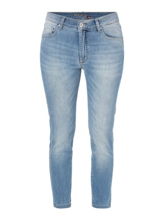 Stone Washed Girlfriend Fit Jeans Blau / Türkis - 1