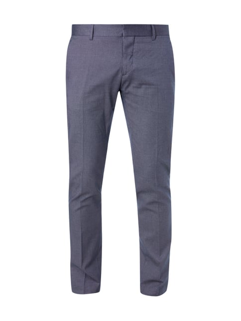 Slim Fit Business-Hose mit Webmuster Blau / Türkis - 1