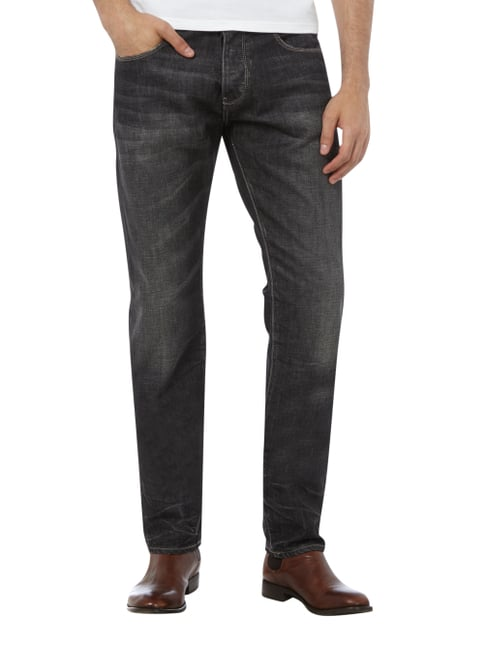 Armani Jeans Regular Fit Double Stone Washed Jeans Schwarz - 1