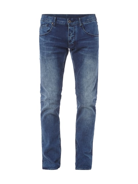 Slim Fit Jeans im Double Stone Washed-Look Blau / Türkis - 1
