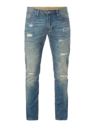 Slim Fit Jeans im Used Look Blau / Türkis - 1