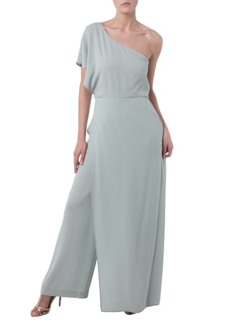 BCBG Max Azria One-Shoulder-Jumpsuit mit Besatz in Wickeloptik in Grau / Schwarz - 1
