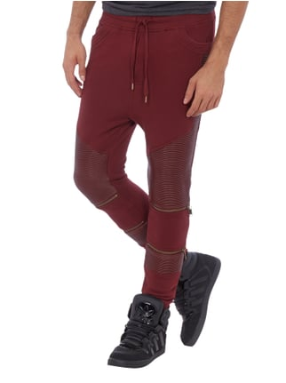 Black Kaviar Sweatpants im Biker-Look Bordeaux Rot - 1