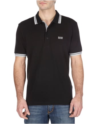 Boss Green Regular Fit Poloshirt aus reiner Baumwolle in Grau / Schwarz - 1