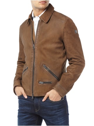 Boss Orange Lederjacke im Vintage Look Cognac meliert - 1
