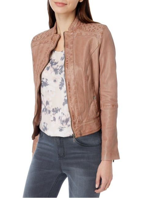 Boss Orange Lederjacke im Vintage Look Taupe - 1