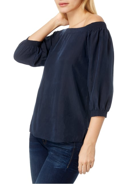Boss Orange Off Shoulder Blusenshirt aus reiner Seide Marineblau - 1