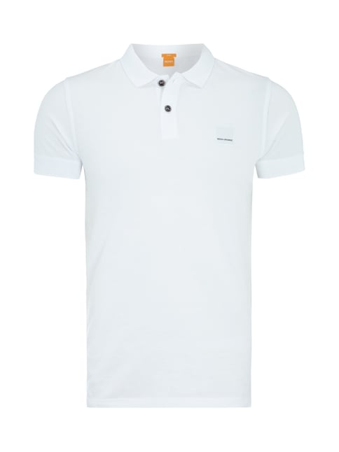Poloshirt mit Label-Patch Weiß - 1