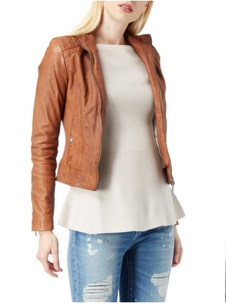 Boss Orange Slim Fit Lederjacke im Biker-Look Cognac - 1
