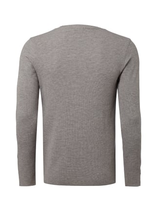 Boss Orange Slim Fit Longsleeve mit Webstruktur Anthrazit - 1