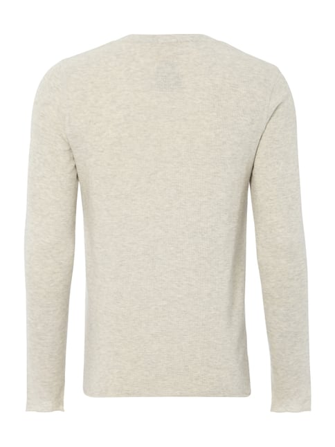 Boss Orange Slim Fit Longsleeve mit Webstruktur Beige - 1