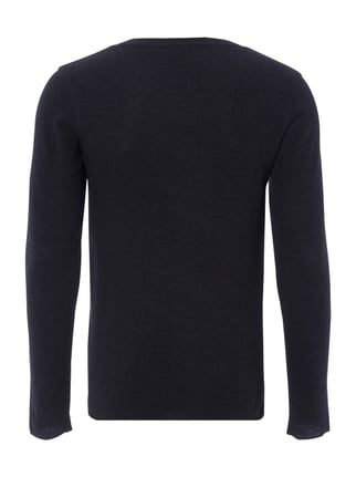 Boss Orange Slim Fit Longsleeve mit Webstruktur Marineblau - 1