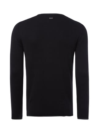 Boss Orange Slim Fit Pullover im Feinstrick - meliert Schwarz - 1