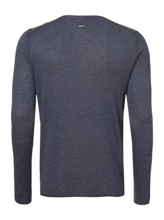Boss Orange Slim Fit Serafino-Pullover im Feinstrick Marineblau - 1