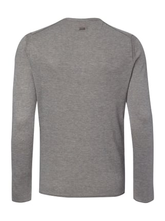Boss Orange Slim Fit Serafino-Pullover im Feinstrick Mittelgrau - 1
