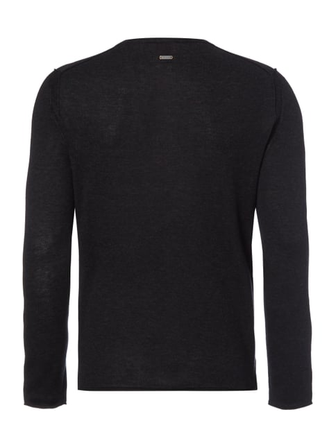 Boss Orange Slim Fit Serafino-Pullover im Feinstrick Schwarz - 1