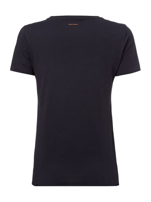 Boss Orange T-Shirt mit Print samt Details in Metallicoptik Marineblau - 1
