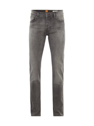 Tapered Fit Jeans im Used Look Grau / Schwarz - 1