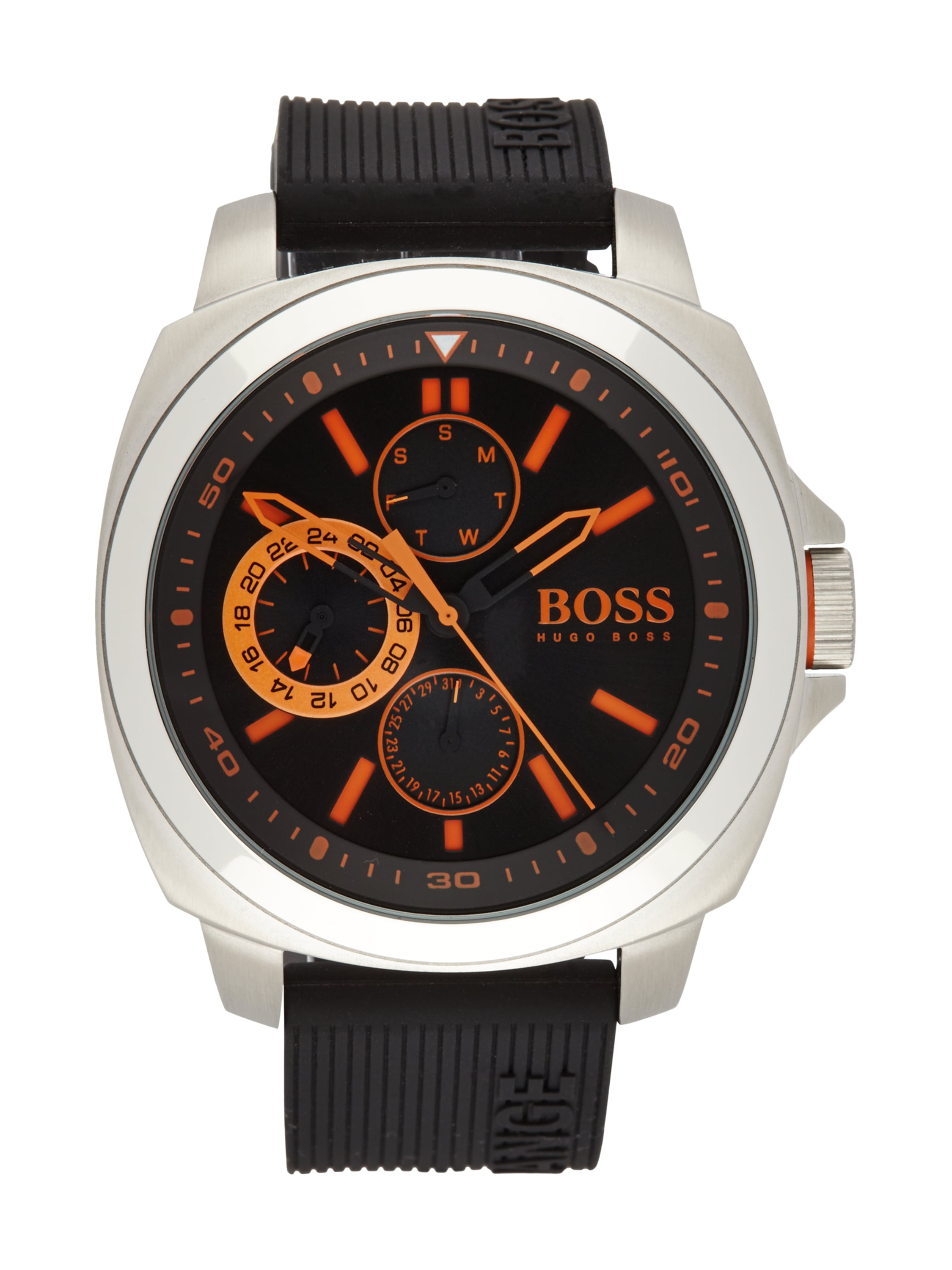 boss orange uhr mit silikonarmband in grau schwarz. Black Bedroom Furniture Sets. Home Design Ideas