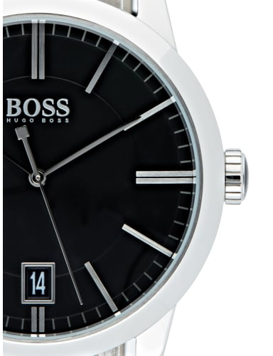 boss uhr mit lederarmband in grau schwarz online kaufen. Black Bedroom Furniture Sets. Home Design Ideas