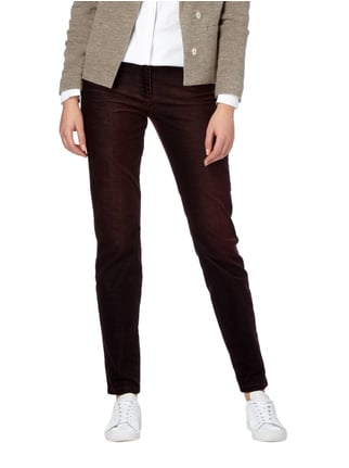 Brax Skinny Fit Cordhose im Washed Out Look Bordeaux Rot - 1