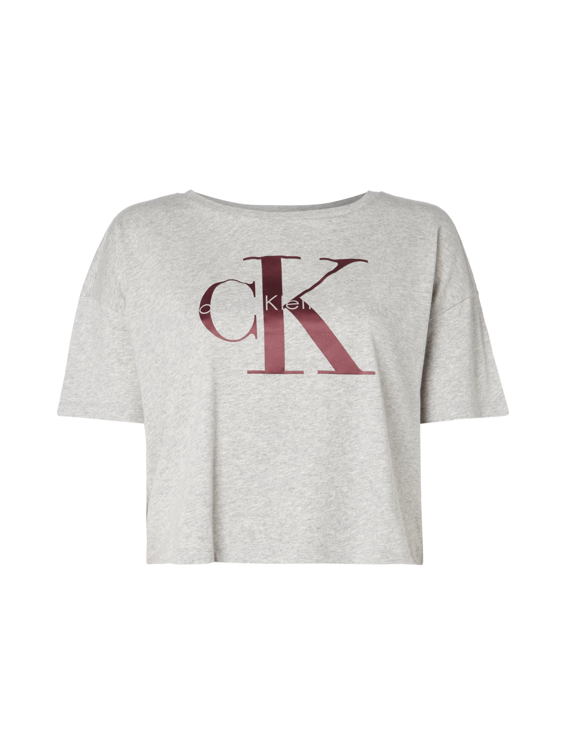 calvin klein jeans crop shirt mit gummiertem logo print in. Black Bedroom Furniture Sets. Home Design Ideas