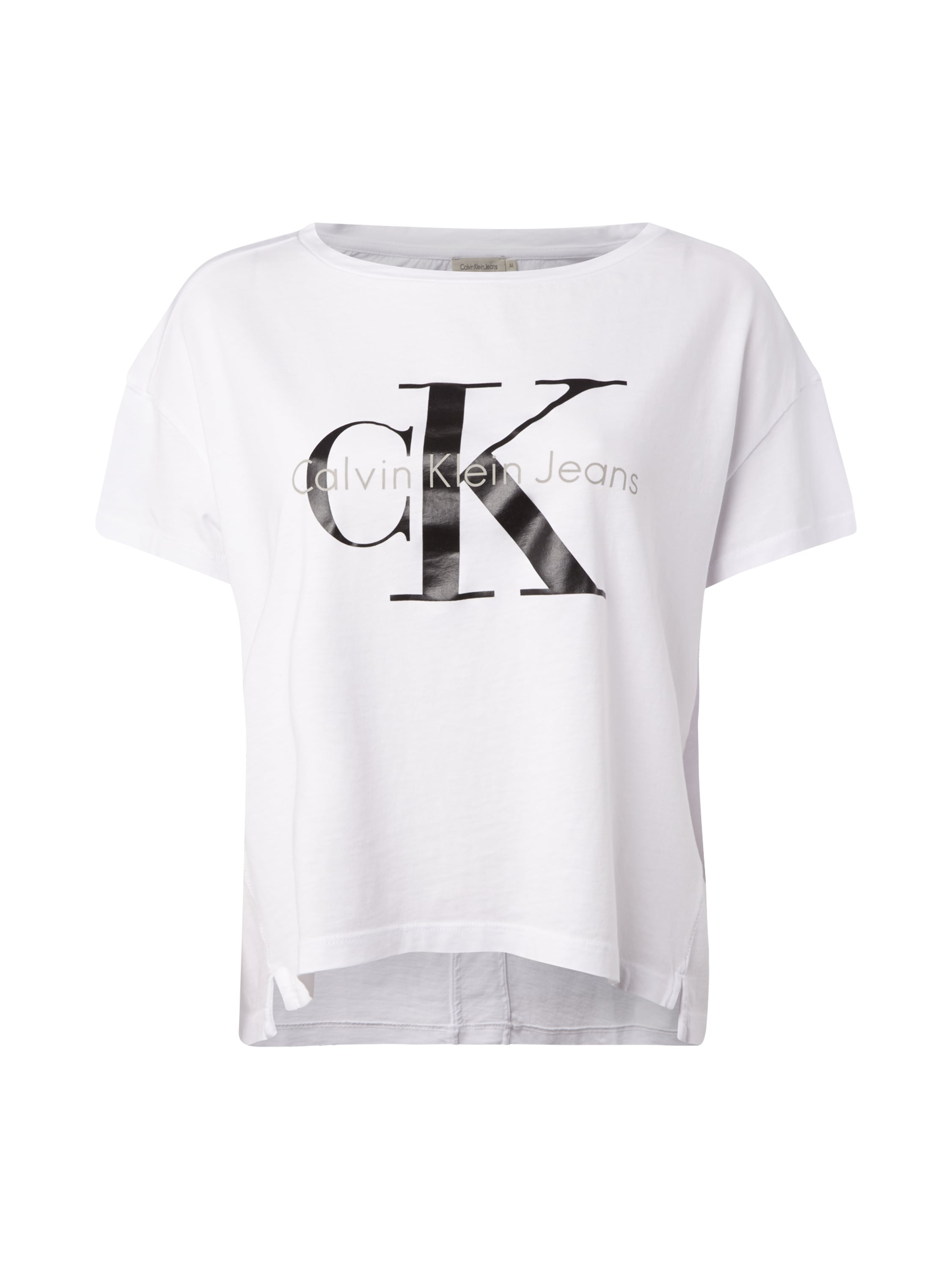 calvin klein jeans crop shirt mit logo print in wei. Black Bedroom Furniture Sets. Home Design Ideas