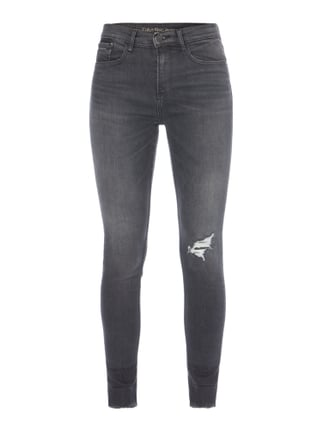 High Rise Skinny Fit Jeans im Destroyed Look Grau / Schwarz - 1