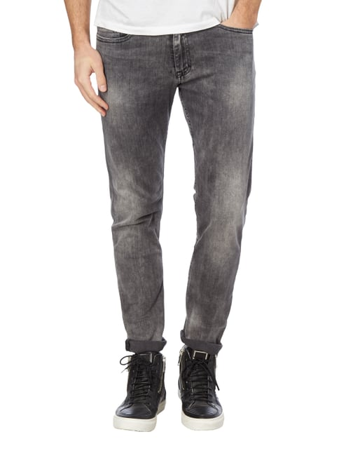 Calvin Klein Jeans Skinny Fit Jeans im Used Look Anthrazit meliert - 1