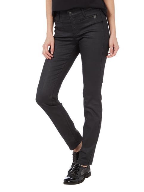 Cambio Coated Slim Fit Jeans Schwarz - 1