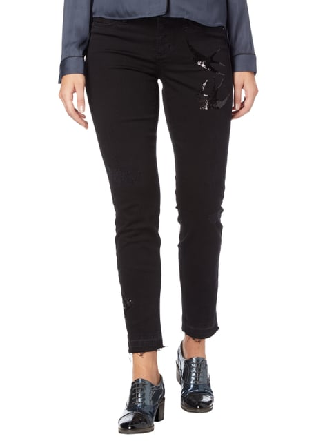 Cambio Destroyed 5-Pocket-Jeans mit Pailletten-Besatz Schwarz - 1