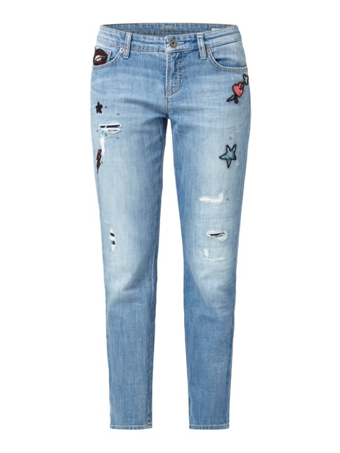Jeans mit Pailletten-Patches Blau / Türkis - 1
