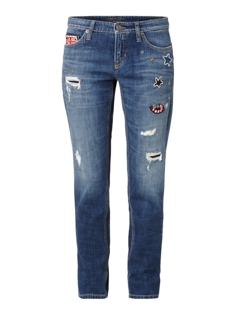 Leisure Fit Jeans im Destroyed Look Blau / Türkis - 1