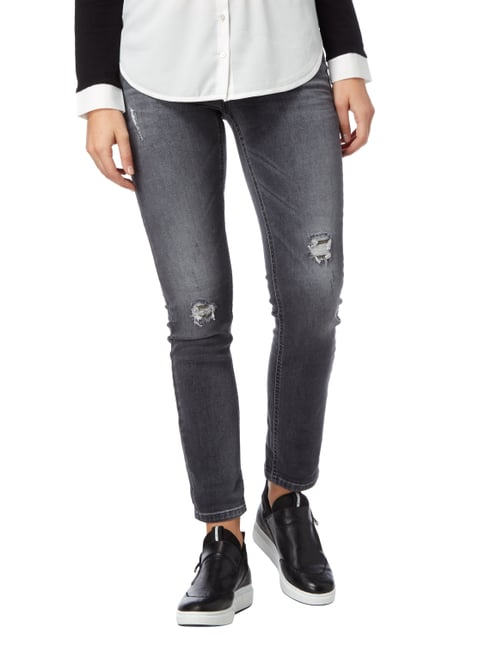 Cambio Skinny Fit 5-Pocket-Jeans im Destroyed Look Mittelgrau - 1