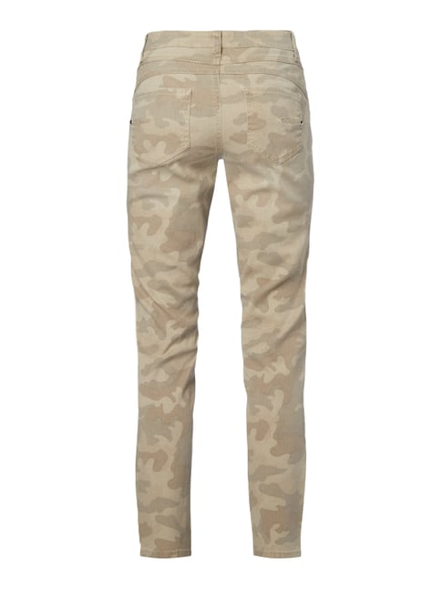 Cambio Skinny Fit Jeans mit Camouflage-Muster Olivgrün - 1