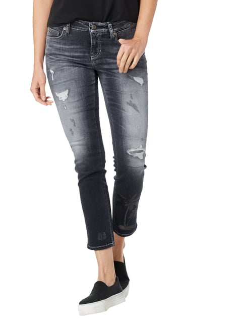 Cambio Slim Fit 5-Pocket-Jeans im Destroyed Look Anthrazit - 1