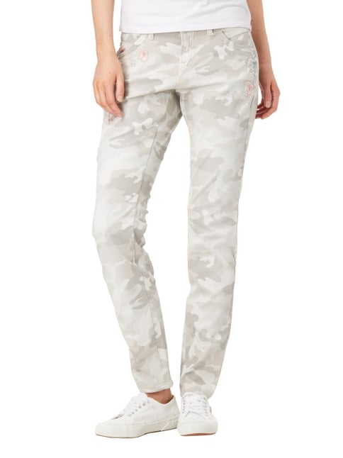 Cambio Slim Fit 5-Pocket-Jeans mit Camouflage Sand - 1