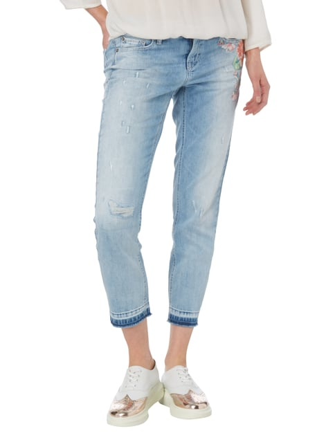 Cambio Slim Fit Jeans im Used Look mit Stickerei Jeans - 1