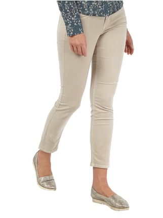 Cambio Slim Fit Samthose mit Logo-Applikation Sand - 1