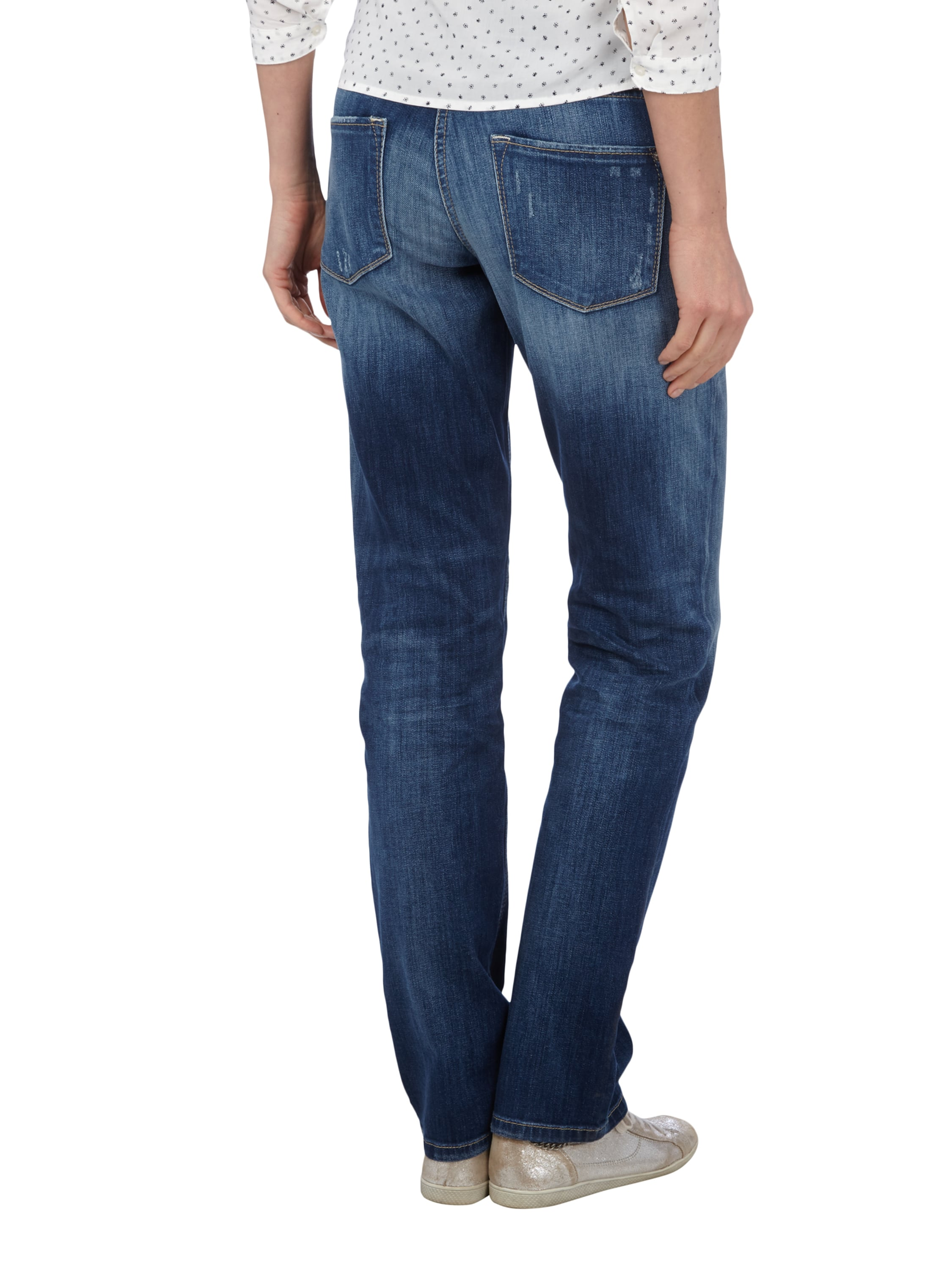 cambio straight fit jeans im used look in blau t rkis. Black Bedroom Furniture Sets. Home Design Ideas