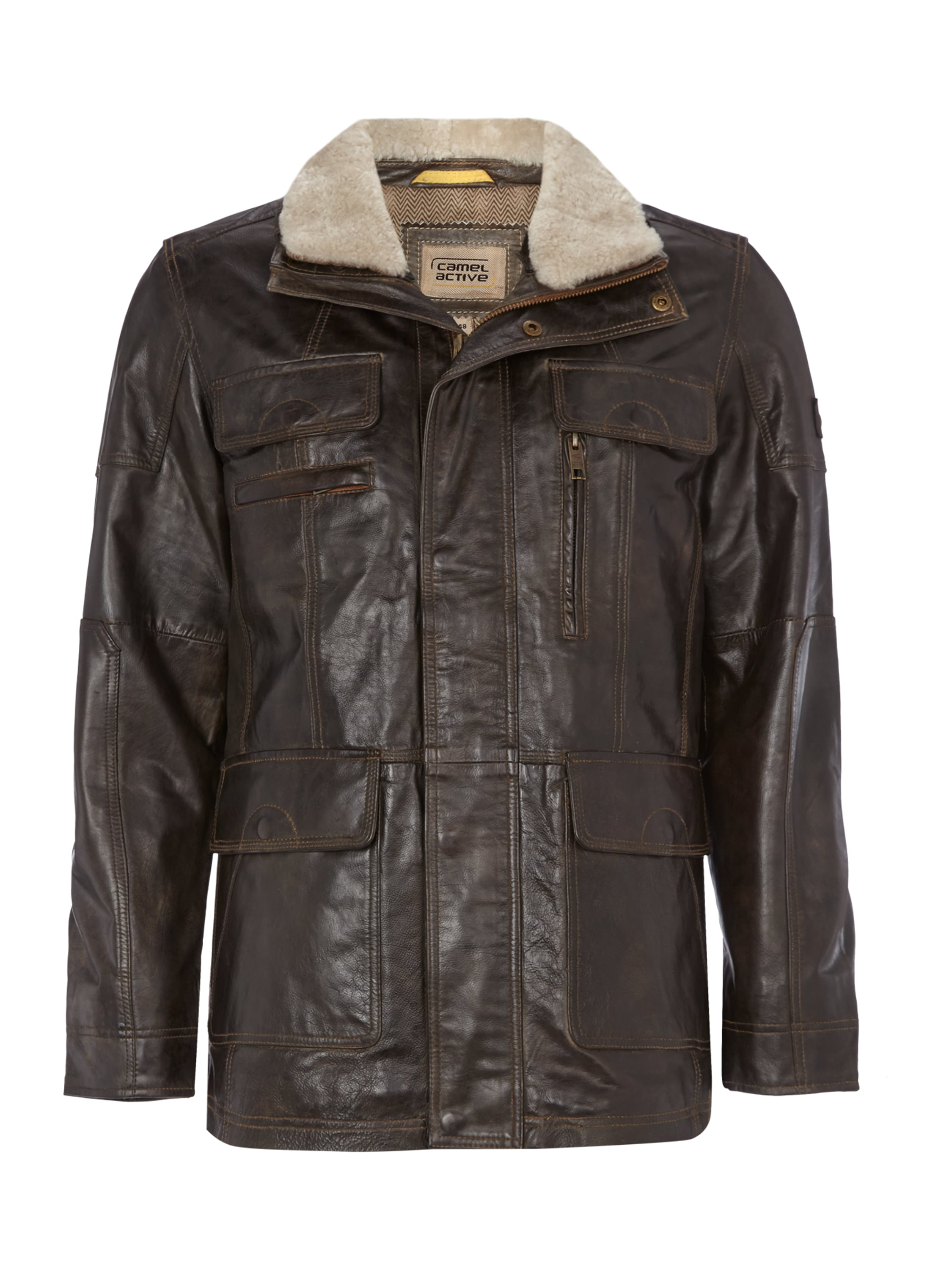 camel active lederjacke im vintage look in braun online kaufen. Black Bedroom Furniture Sets. Home Design Ideas
