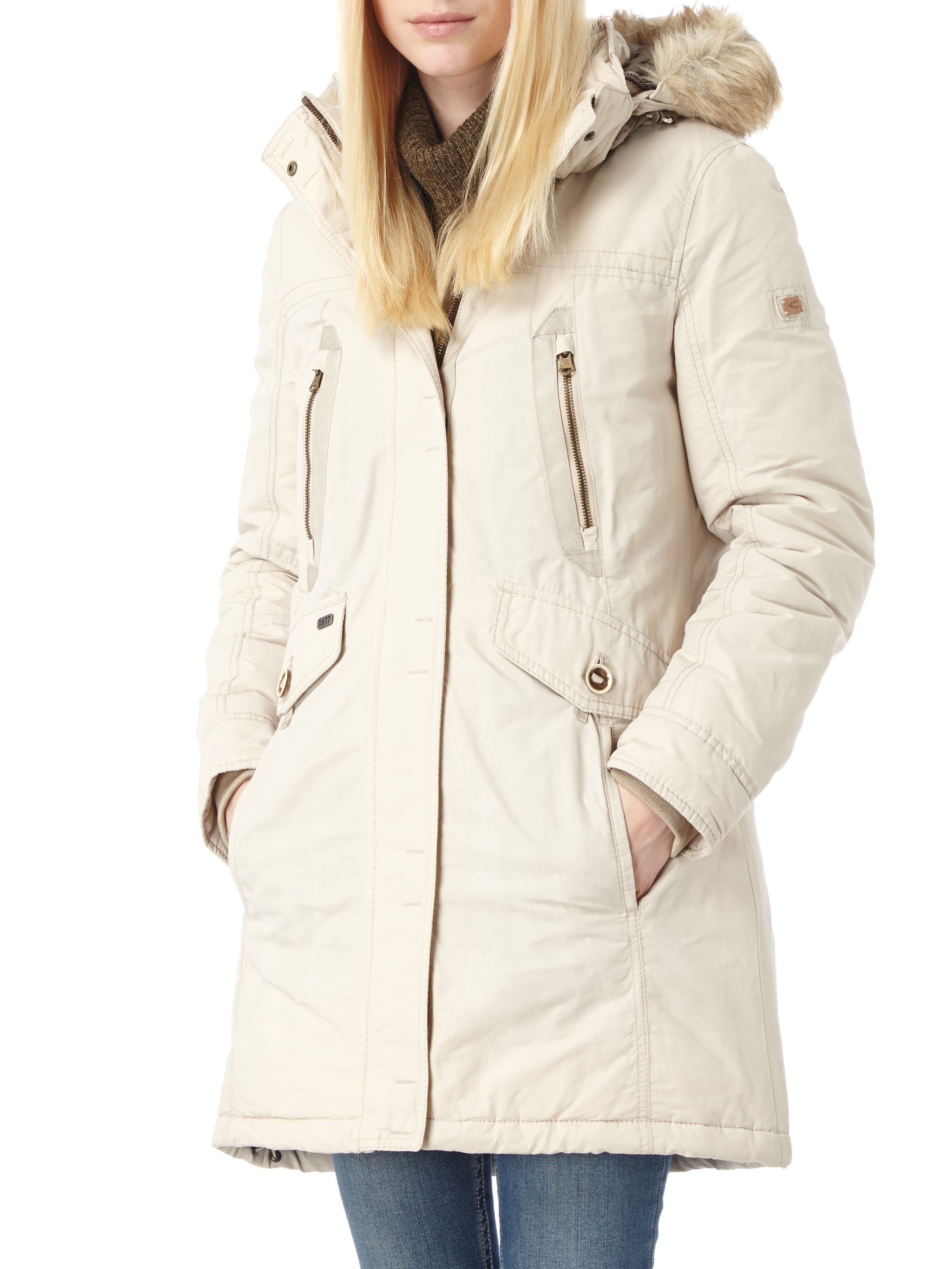 camel active parka mit abnehmbarer kapuze und webpelz in wei online kaufen 9515808 p c. Black Bedroom Furniture Sets. Home Design Ideas