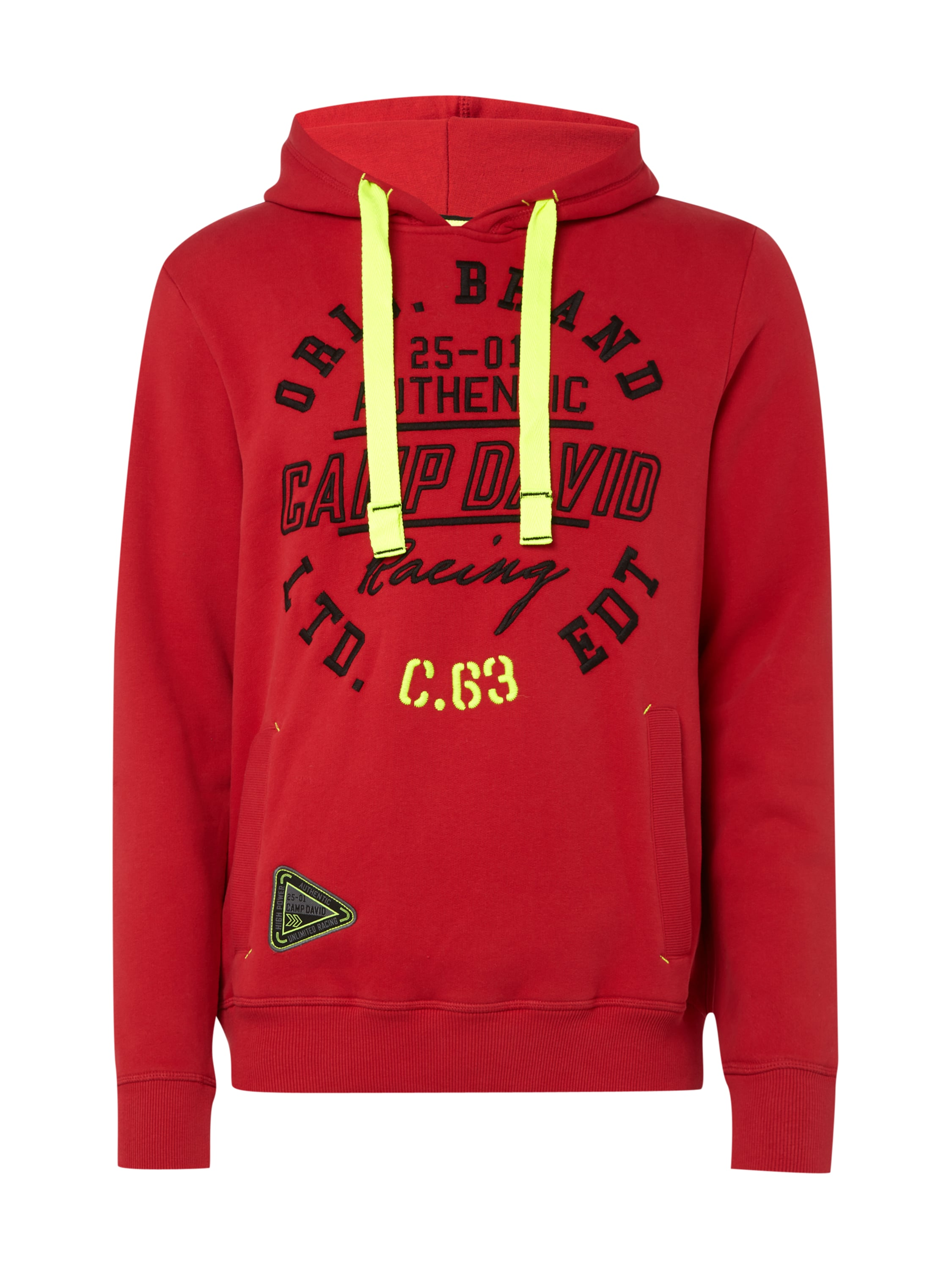 camp david hoodie mit gro er logo stickerei in rot online kaufen 9571750 p c online shop. Black Bedroom Furniture Sets. Home Design Ideas