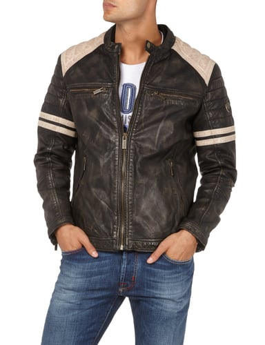 camp david lederjacke im biker look in grau schwarz online kaufen. Black Bedroom Furniture Sets. Home Design Ideas