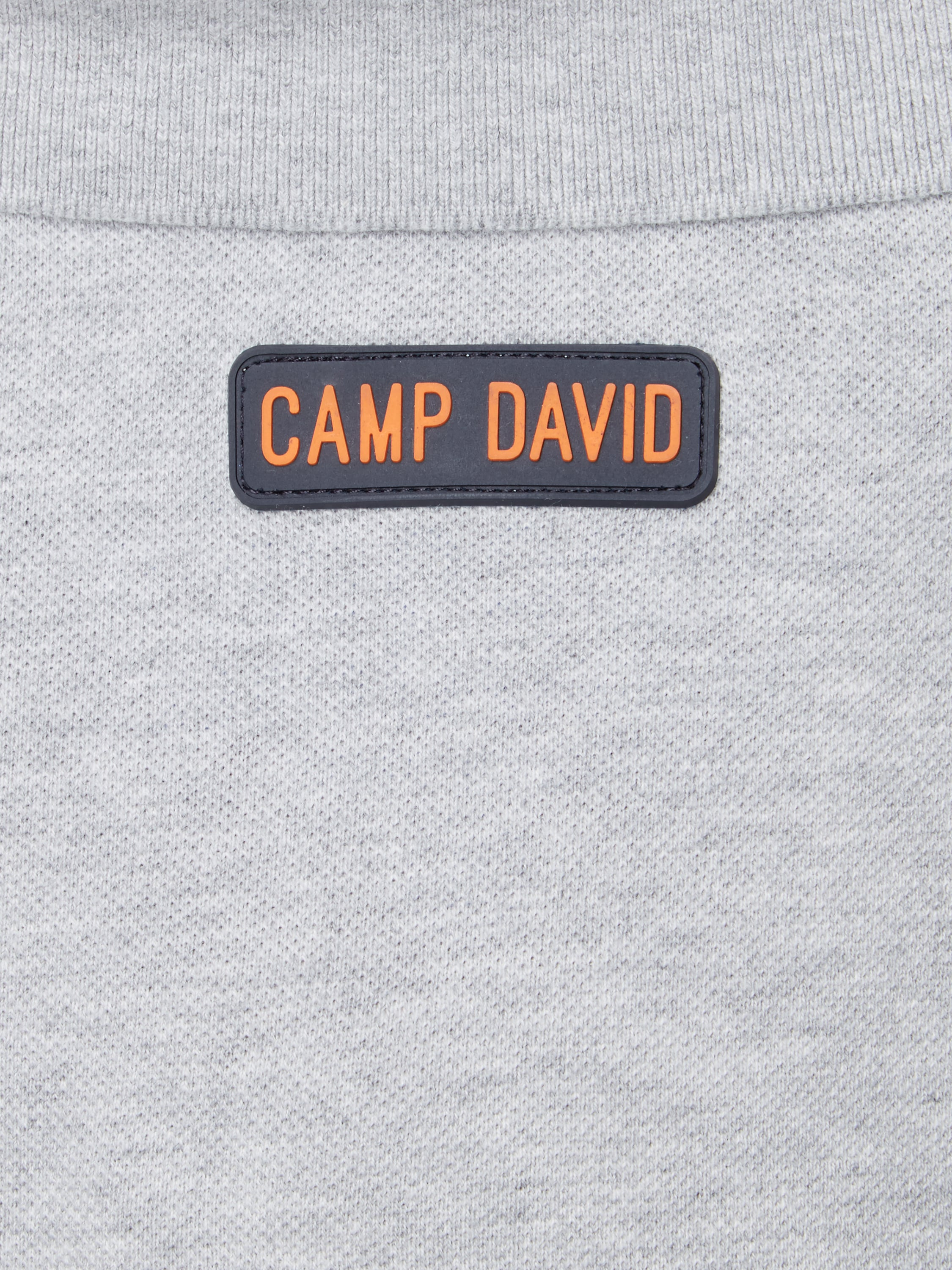 camp david poloshirt mit logo details in grau schwarz online kaufen. Black Bedroom Furniture Sets. Home Design Ideas