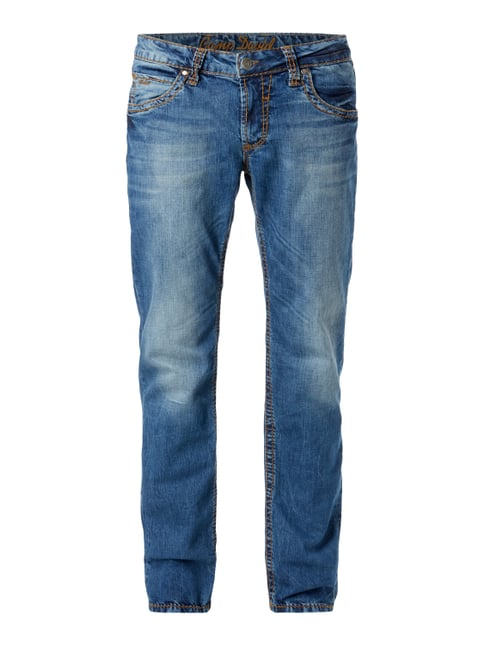 Stone Washed Regular Fit 5-Pocket-Jeans Blau / Türkis - 1