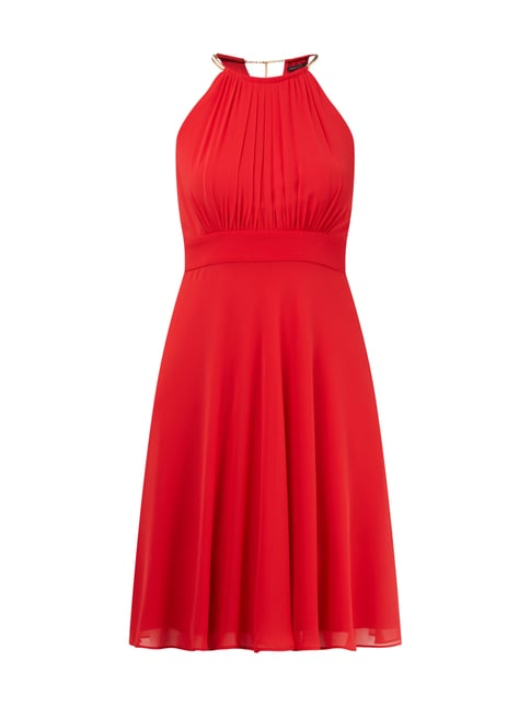 Cocktailkleid mit Collierkragen in Goldoptik Rot - 1