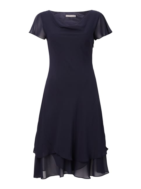 Cocktailkleid mit Saum im Double-Layer-Look Blau / Türkis - 1