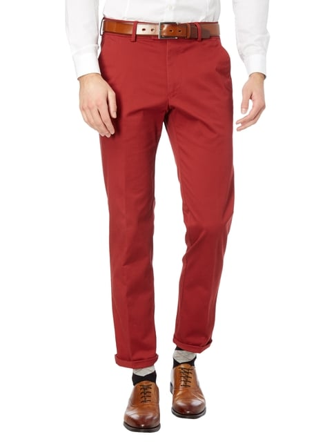 Christian Berg Men Regular Fit Chino mit Stretch-Anteil Dunkelrot - 1